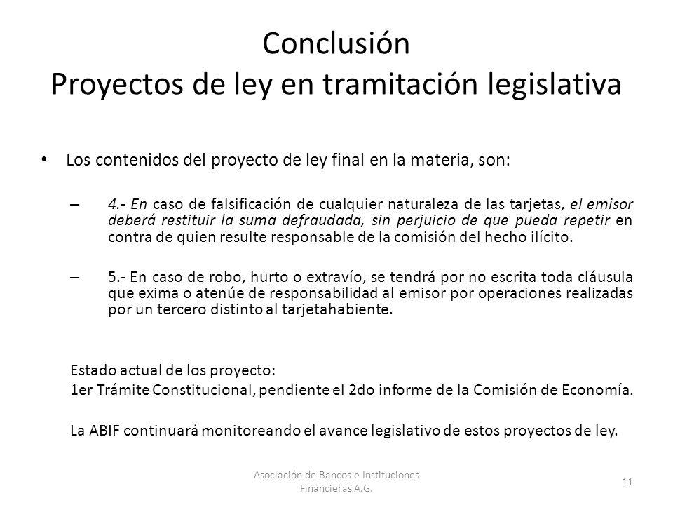 Conclusión Proyectos de ley en tramitación legislativa Los contenidos del proyecto de ley final en la materia, son: – 4.- En caso de falsificación de