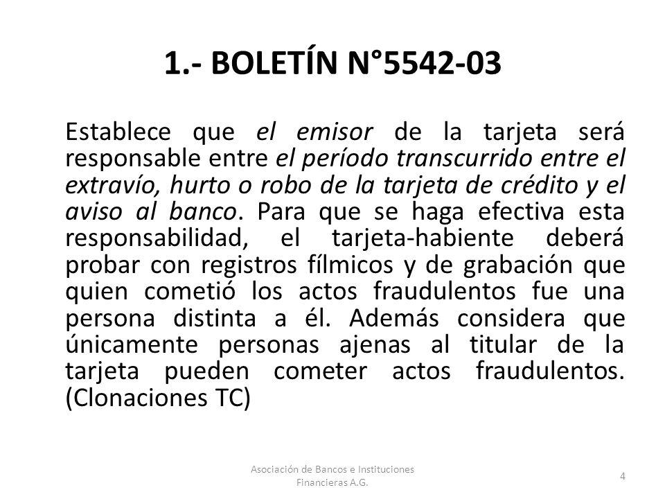 2.- BOLETÍN N°.5558-03 Exime de responsabilidad a los tarjeta- habientes por las operaciones realizadas por un tercero y cuyos montos excedan de 1 UF, cuando su tarjeta haya sido objeto de hurto, robo, extravío o falsificación de cualquier naturaleza.