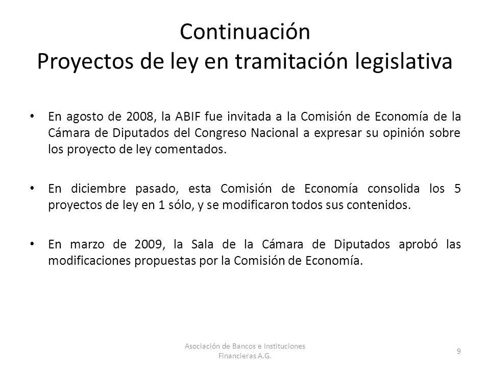 Continuación Proyectos de ley en tramitación legislativa En agosto de 2008, la ABIF fue invitada a la Comisión de Economía de la Cámara de Diputados d