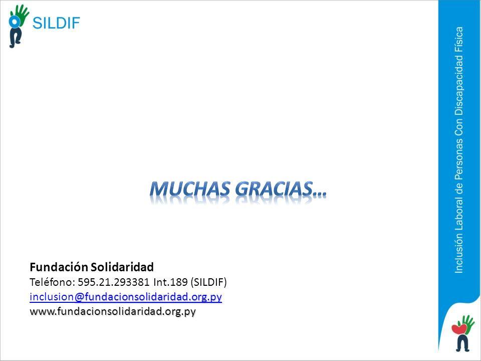 Fundación Solidaridad Teléfono: 595.21.293381 Int.189 (SILDIF) @fundacionsolidaridad.org.py inclusion@fundacionsolidaridad.org.pywww.fundacionsolidari