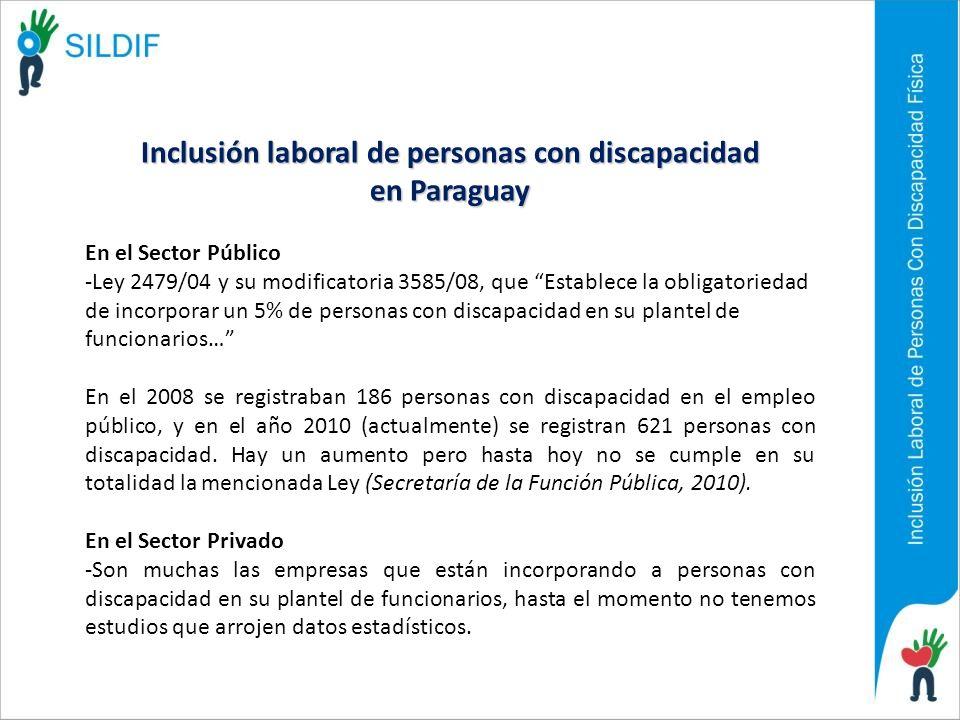 Inclusión laboral de personas con discapacidad en Paraguay En el Sector Público -Ley 2479/04 y su modificatoria 3585/08, que Establece la obligatoried