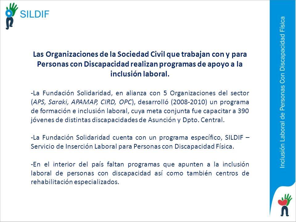 Las Organizaciones de la Sociedad Civil que trabajan con y para Personas con Discapacidad realizan programas de apoyo a la inclusión laboral. -La Fund