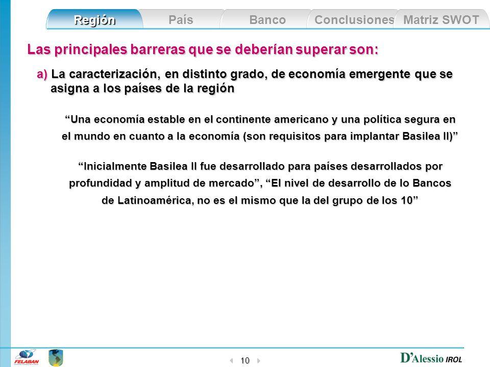País Banco Conclusiones Matriz SWOT Región 10 Las principales barreras que se deberían superar son: a) La caracterización, en distinto grado, de econo