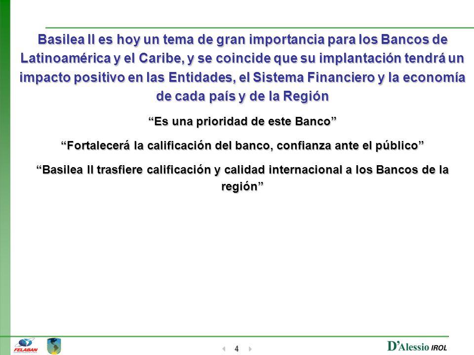 4 Basilea II es hoy un tema de gran importancia para los Bancos de Latinoamérica y el Caribe, y se coincide que su implantación tendrá un impacto posi
