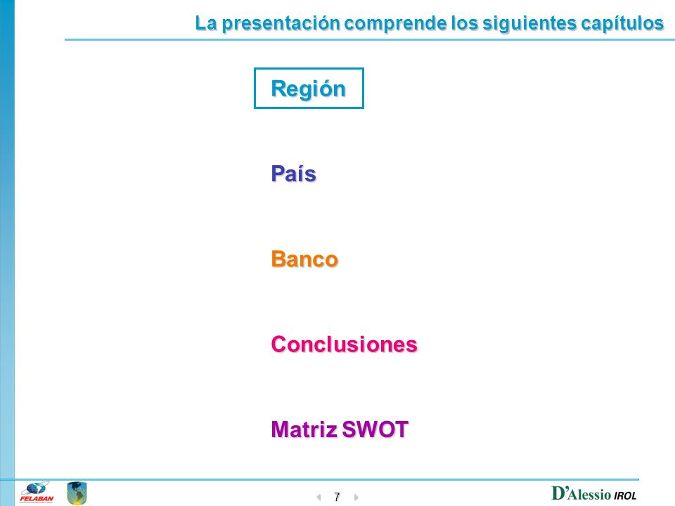 7 Región País Banco Conclusiones Matriz SWOT Matriz SWOT La presentación comprende los siguientes capítulos