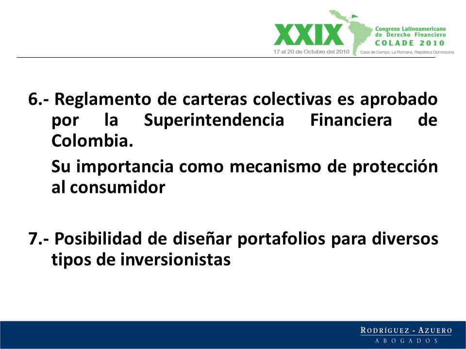 6.- Reglamento de carteras colectivas es aprobado por la Superintendencia Financiera de Colombia. Su importancia como mecanismo de protección al consu