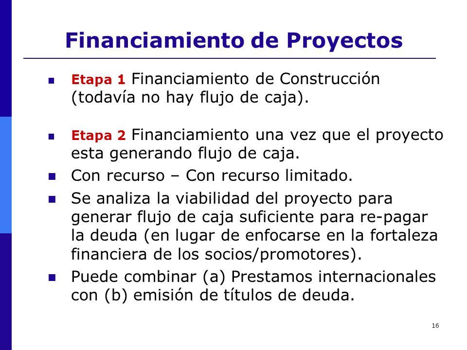16 Financiamiento de Proyectos Etapa 1 Financiamiento de Construcción (todavía no hay flujo de caja). Etapa 2 Financiamiento una vez que el proyecto e