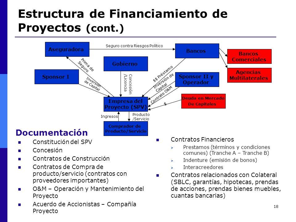 18 Estructura de Financiamiento de Proyectos (cont.) Aseguradora Seguro contra Riesgos Político Bancos Comprador de Producto/Servicio Empresa del Proy