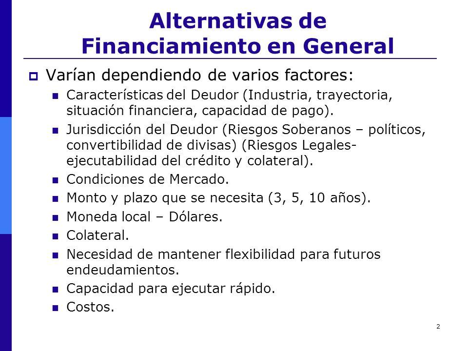 2 Alternativas de Financiamiento en General Varían dependiendo de varios factores: Características del Deudor (Industria, trayectoria, situación finan