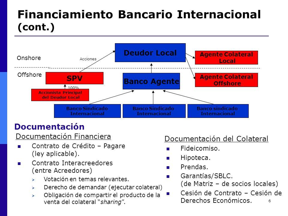 6 Financiamiento Bancario Internacional (cont.) Deudor Local Banco Agente Banco Sindicado Internacional Banco Sindicado Internacional Banco sindicado