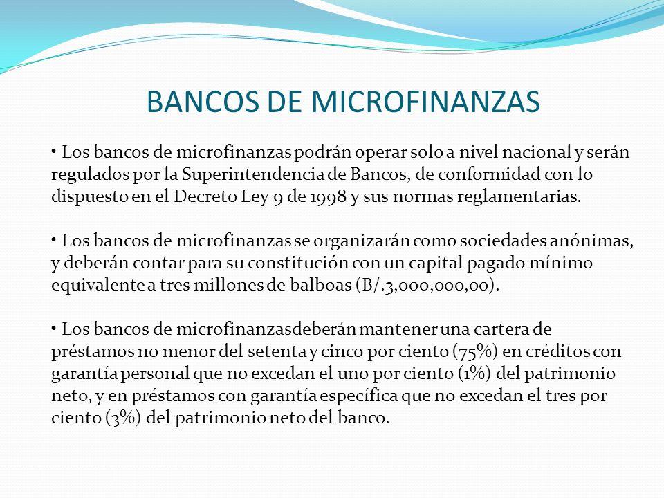 BANCOS DE MICROFINANZAS Los bancos de microfinanzas podrán operar solo a nivel nacional y serán regulados por la Superintendencia de Bancos, de confor