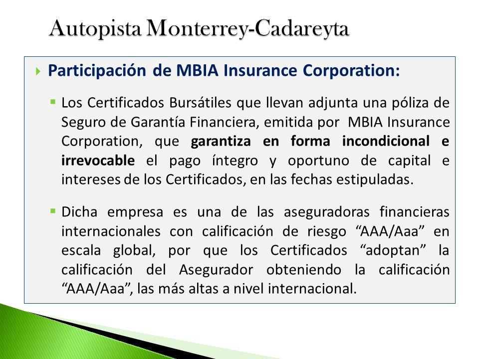 Participación de MBIA Insurance Corporation: Los Certificados Bursátiles que llevan adjunta una póliza de Seguro de Garantía Financiera, emitida por M