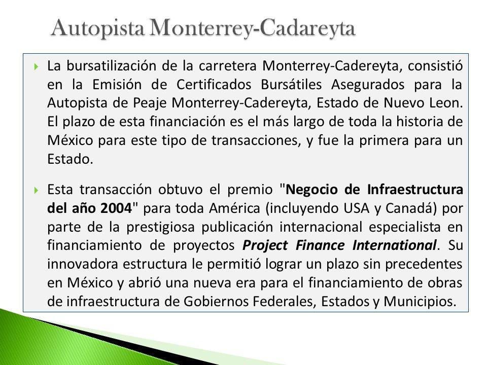 La bursatilización de la carretera Monterrey-Cadereyta, consistió en la Emisión de Certificados Bursátiles Asegurados para la Autopista de Peaje Monte