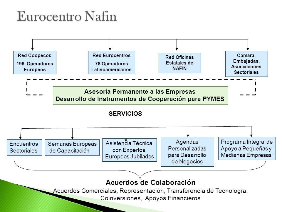 Red Coopecos 198 Operadores Europeos Red Eurocentros 78 Operadores Latinoamericanos Red Oficinas Estatales de NAFIN Cámara, Embajadas, Asociaciones Se