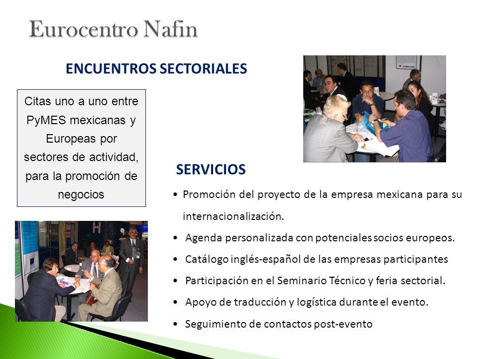 Promoción del proyecto de la empresa mexicana para su internacionalización. Agenda personalizada con potenciales socios europeos. Catálogo inglés-espa