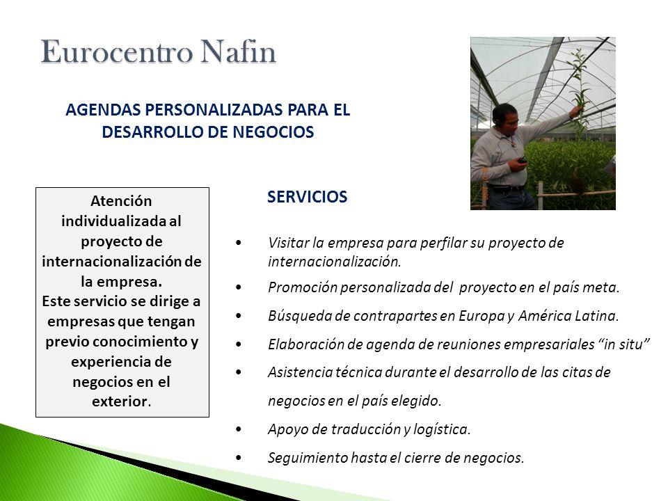 Visitar la empresa para perfilar su proyecto de internacionalización. Promoción personalizada del proyecto en el país meta. Búsqueda de contrapartes e