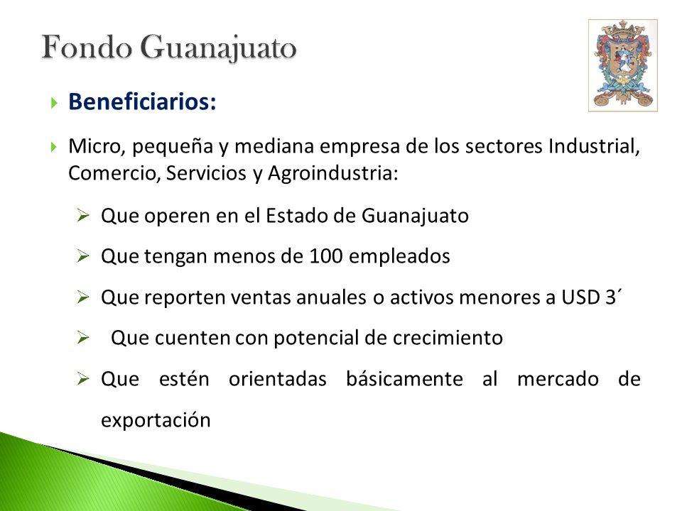 Beneficiarios: Micro, pequeña y mediana empresa de los sectores Industrial, Comercio, Servicios y Agroindustria: Que operen en el Estado de Guanajuato