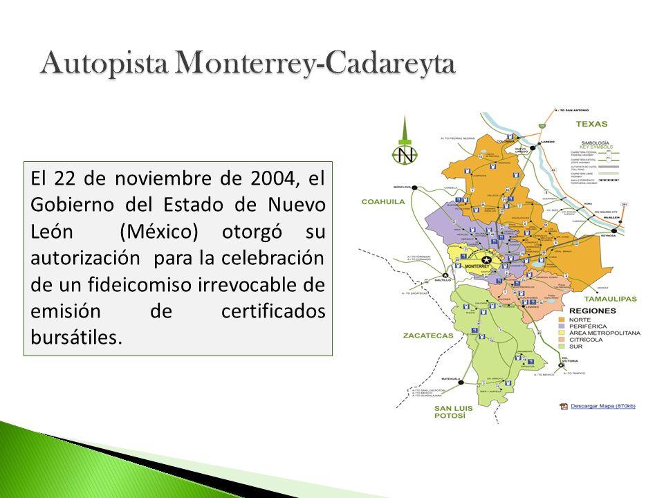 Antecedentes: Gobierno del Estado de Nuevo León, inicio construcción con recursos públicos Autopista conecta las ciudades de Monterrey y Cadereyta (33km) En 1989 inicio operaciones como vía estatal de cuota Red Estatal de Autopistas de Nuevo León REA, organismo público descentralizado autorizada para planear, proyectar, promover, construir, explotar, conservar, administrar y operar la Autopista.