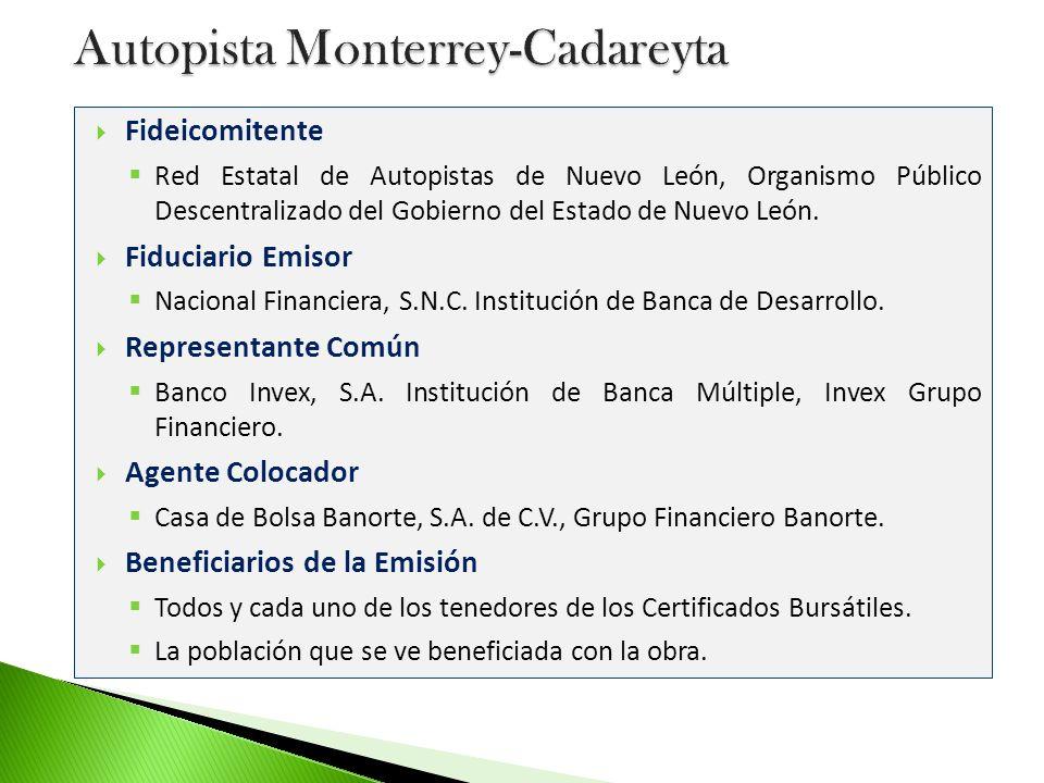 Patrimonio del Fideicomiso Los derechos de cobro de las cuotas presentes y futuras (Peajes) con respecto a la Autopista Monterrey -Cadereyta, durante el periodo determinado en el Contrato.