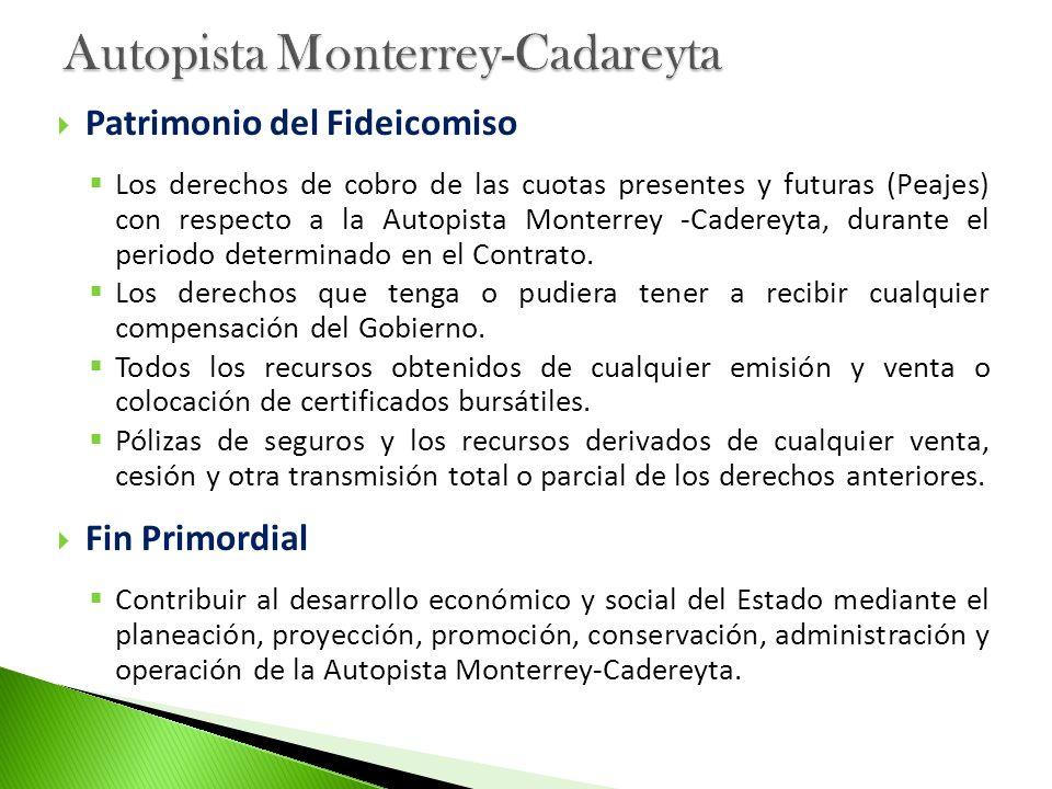 Patrimonio del Fideicomiso Los derechos de cobro de las cuotas presentes y futuras (Peajes) con respecto a la Autopista Monterrey -Cadereyta, durante
