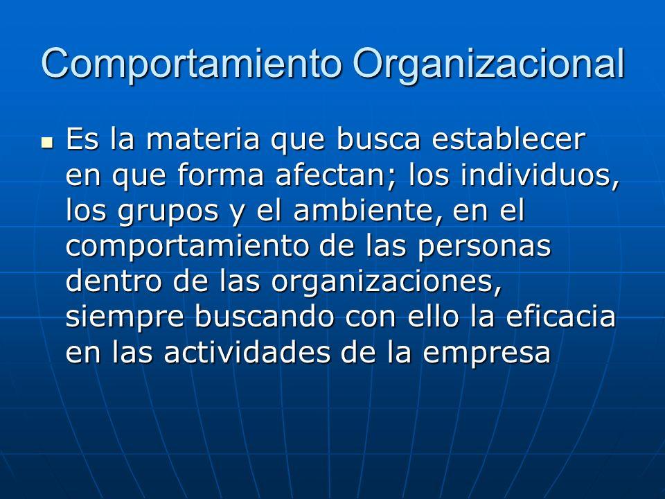 Comportamiento Organizacional Es la materia que busca establecer en que forma afectan; los individuos, los grupos y el ambiente, en el comportamiento