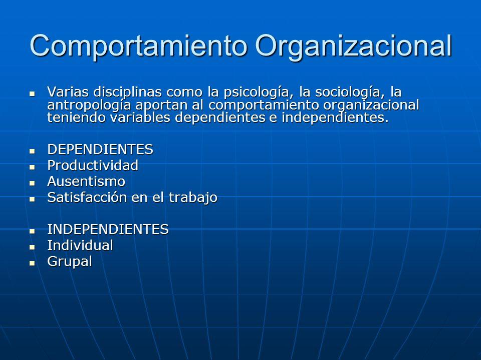 Comportamiento Organizacional Varias disciplinas como la psicología, la sociología, la antropología aportan al comportamiento organizacional teniendo