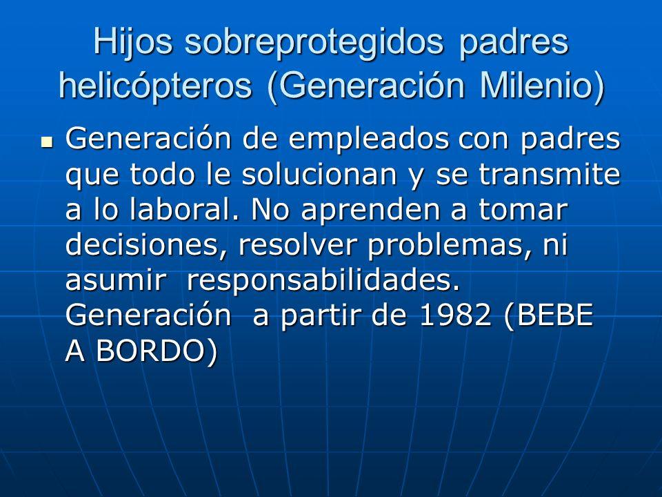 Hijos sobreprotegidos padres helicópteros (Generación Milenio) Generación de empleados con padres que todo le solucionan y se transmite a lo laboral.