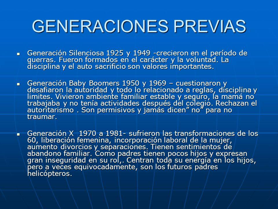GENERACIONES PREVIAS Generación Silenciosa 1925 y 1949 -crecieron en el período de guerras. Fueron formados en el carácter y la voluntad. La disciplin