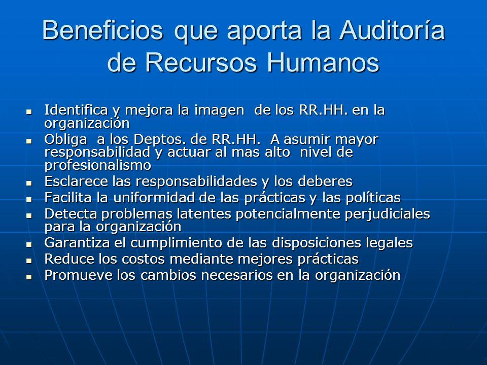 Beneficios que aporta la Auditoría de Recursos Humanos Identifica y mejora la imagen de los RR.HH. en la organización Identifica y mejora la imagen de