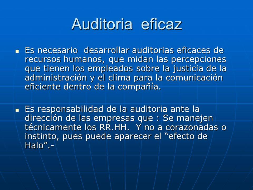 Auditoria eficaz Es necesario desarrollar auditorias eficaces de recursos humanos, que midan las percepciones que tienen los empleados sobre la justic