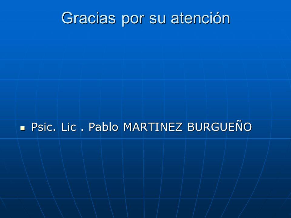 Gracias por su atención Psic. Lic. Pablo MARTINEZ BURGUEÑO Psic. Lic. Pablo MARTINEZ BURGUEÑO