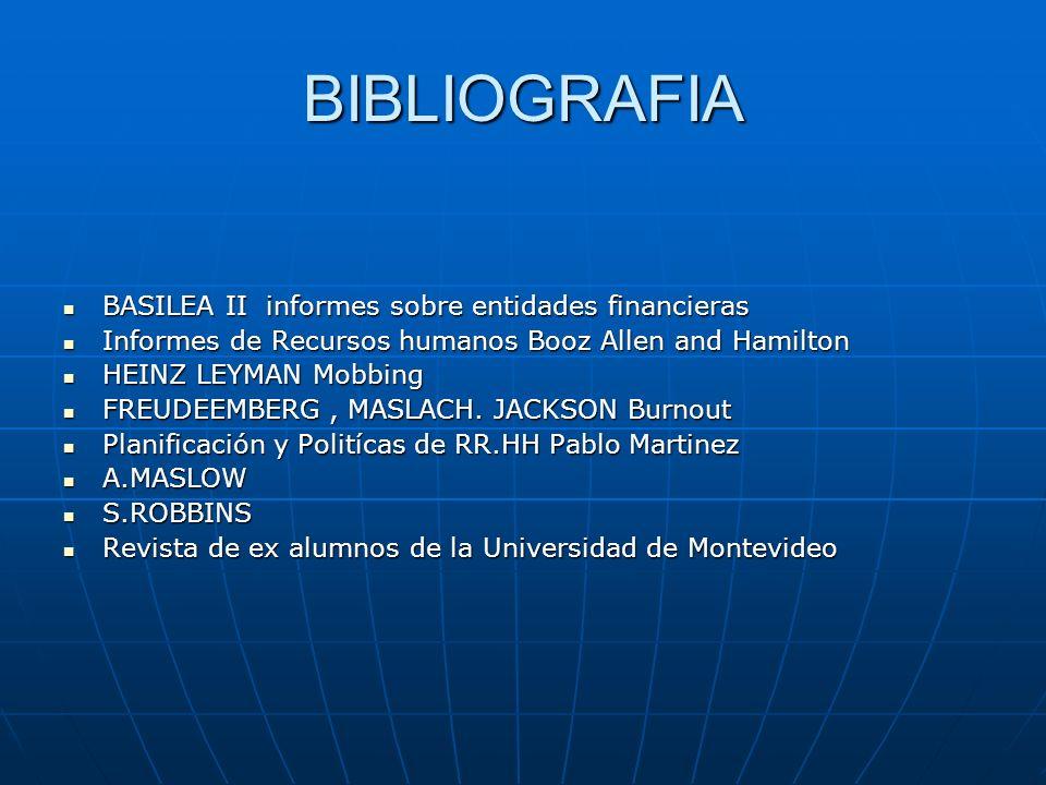 BIBLIOGRAFIA BASILEA II informes sobre entidades financieras BASILEA II informes sobre entidades financieras Informes de Recursos humanos Booz Allen a