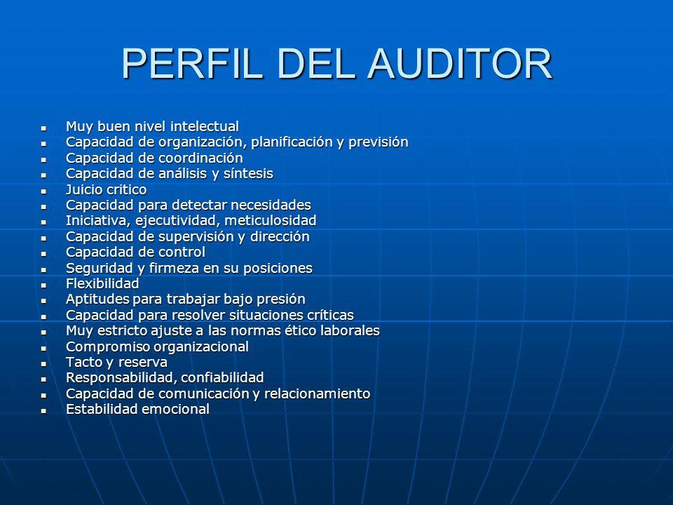 PERFIL DEL AUDITOR Muy buen nivel intelectual Muy buen nivel intelectual Capacidad de organización, planificación y previsión Capacidad de organizació