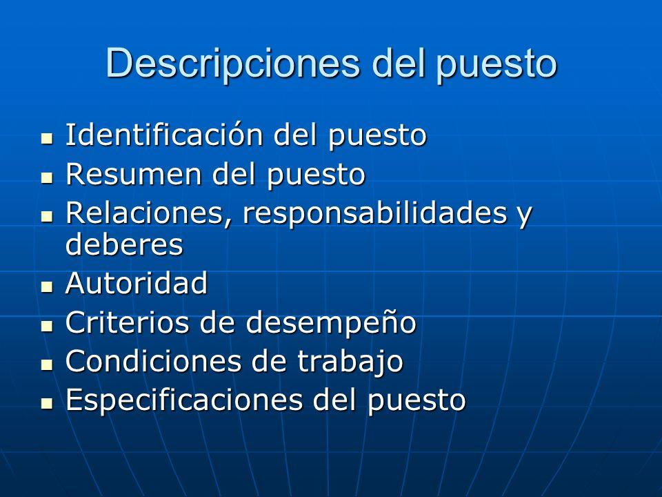 Descripciones del puesto Identificación del puesto Identificación del puesto Resumen del puesto Resumen del puesto Relaciones, responsabilidades y deb