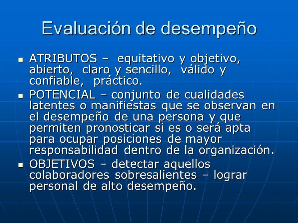 Evaluación de desempeño ATRIBUTOS – equitativo y objetivo, abierto, claro y sencillo, válido y confiable, práctico. ATRIBUTOS – equitativo y objetivo,