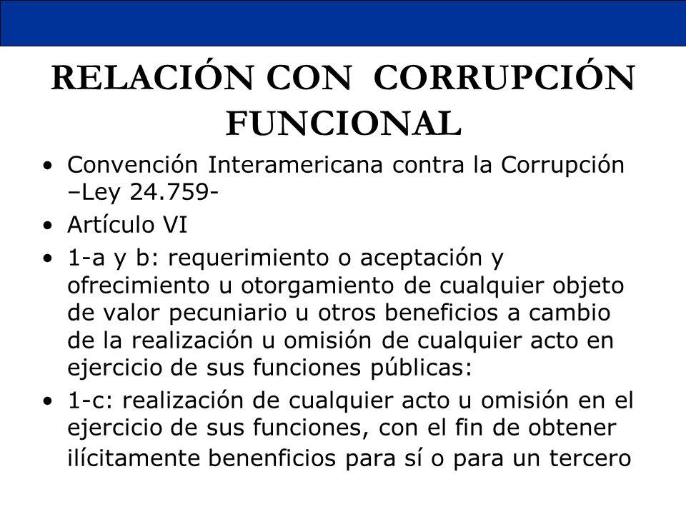 RELACIÓN CON CORRUPCIÓN FUNCIONAL Convención Interamericana contra la Corrupción –Ley 24.759- Artículo VI 1-a y b: requerimiento o aceptación y ofreci