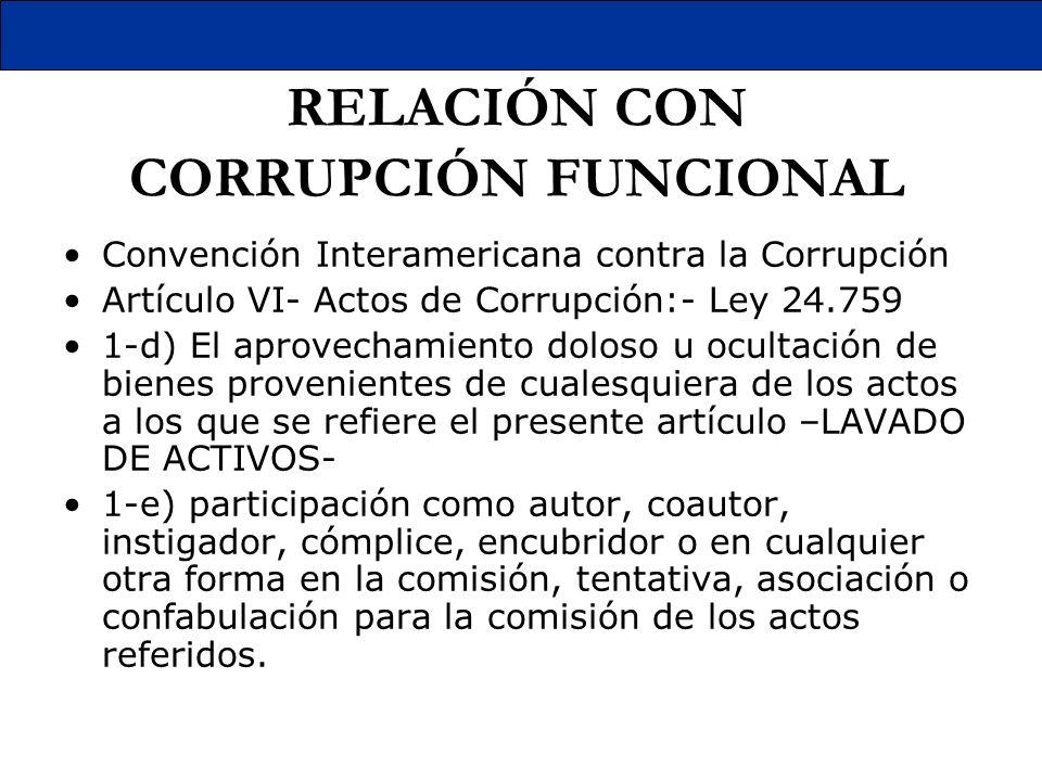 RELACIÓN CON CORRUPCIÓN FUNCIONAL Convención Interamericana contra la Corrupción Artículo VI- Actos de Corrupción:- Ley 24.759 1-d) El aprovechamiento