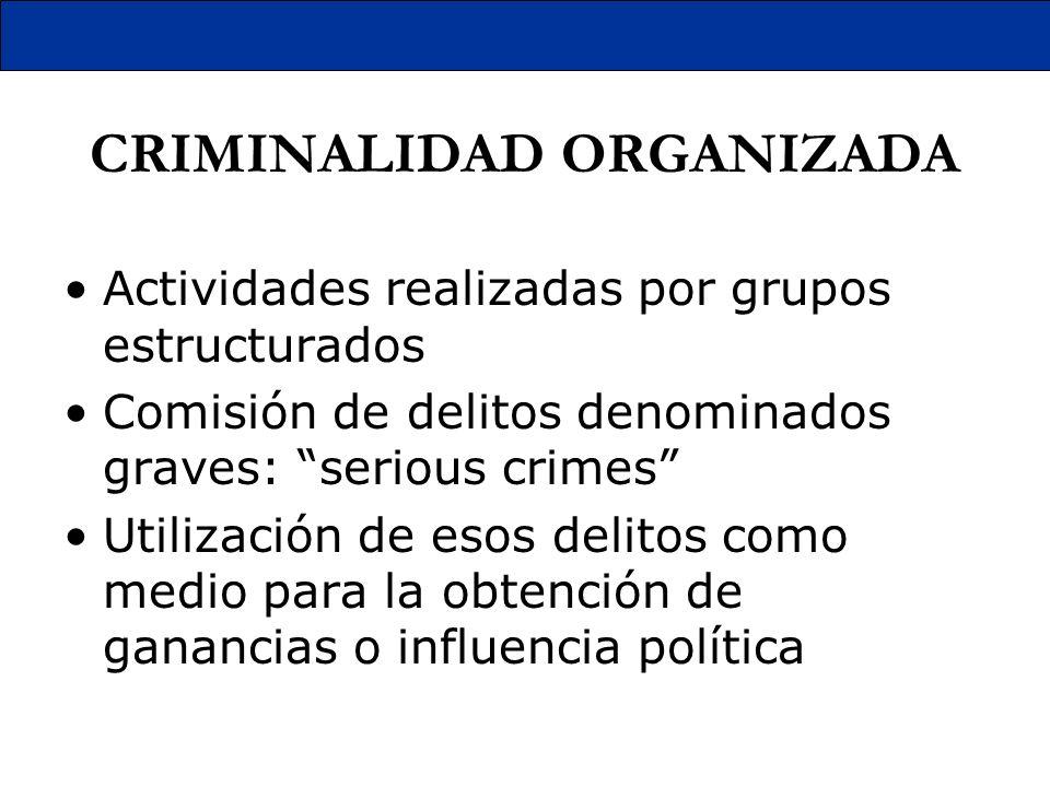 CRIMINALIDAD ORGANIZADA Actividades realizadas por grupos estructurados Comisión de delitos denominados graves: serious crimes Utilización de esos del