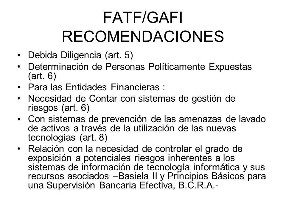 FATF/GAFI RECOMENDACIONES Debida Diligencia (art. 5) Determinación de Personas Políticamente Expuestas (art. 6) Para las Entidades Financieras : Neces