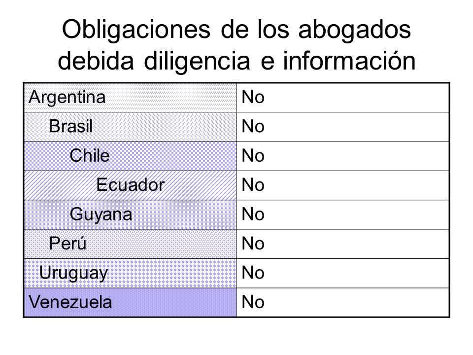 Obligaciones de los abogados debida diligencia e información ArgentinaNo BrasilNo ChileNo EcuadorNo GuyanaNo PerúNo UruguayNo VenezuelaNo