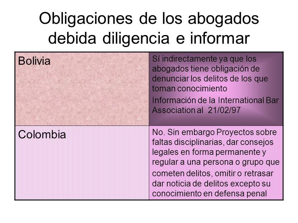 Obligaciones de los abogados debida diligencia e informar Bolivia Sí indirectamente ya que los abogados tiene obligación de denunciar los delitos de l
