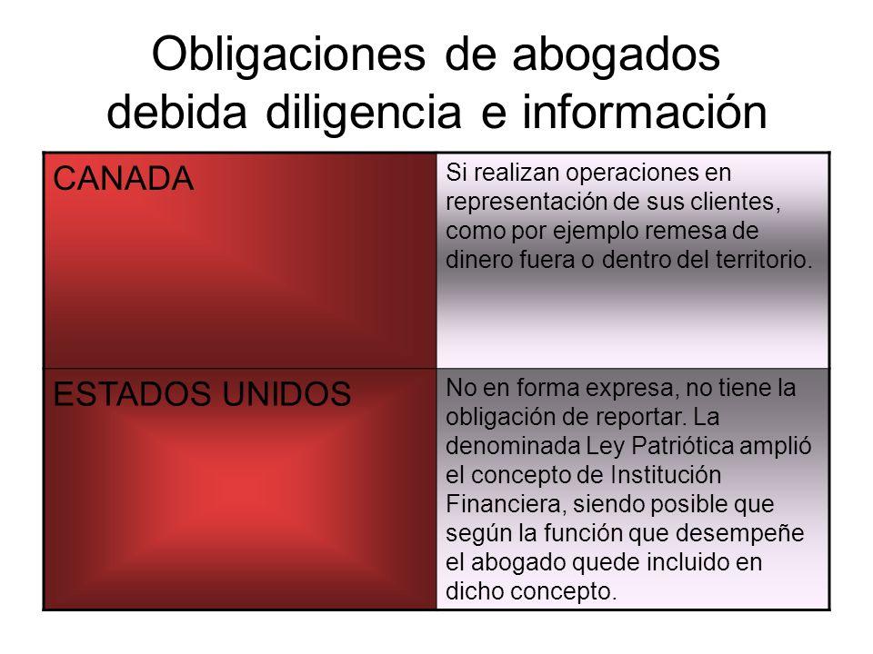 Obligaciones de abogados debida diligencia e información CANADA Si realizan operaciones en representación de sus clientes, como por ejemplo remesa de