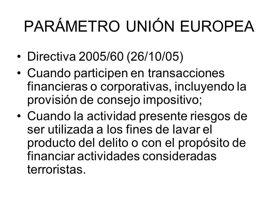 PARÁMETRO UNIÓN EUROPEA Directiva 2005/60 (26/10/05) Cuando participen en transacciones financieras o corporativas, incluyendo la provisión de consejo