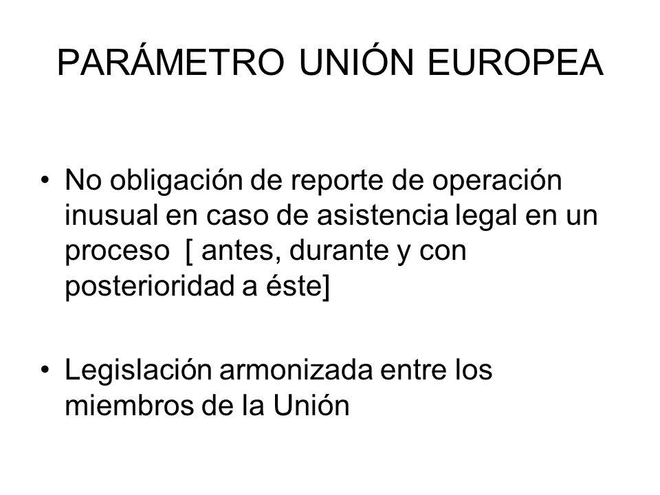 PARÁMETRO UNIÓN EUROPEA No obligación de reporte de operación inusual en caso de asistencia legal en un proceso [ antes, durante y con posterioridad a