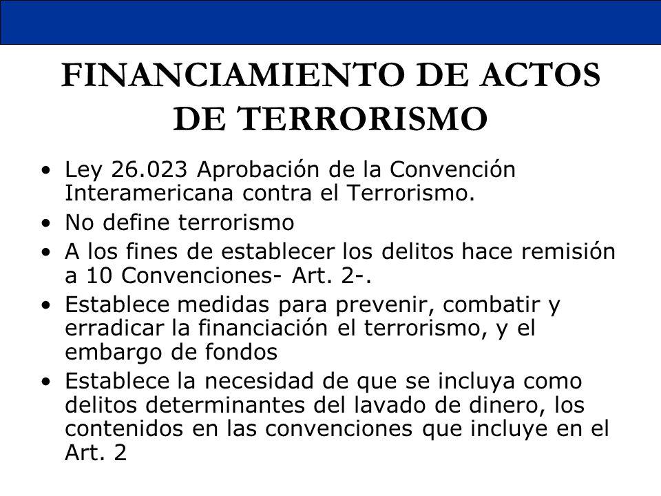 FINANCIAMIENTO DE ACTOS DE TERRORISMO Ley 26.023 Aprobación de la Convención Interamericana contra el Terrorismo. No define terrorismo A los fines de