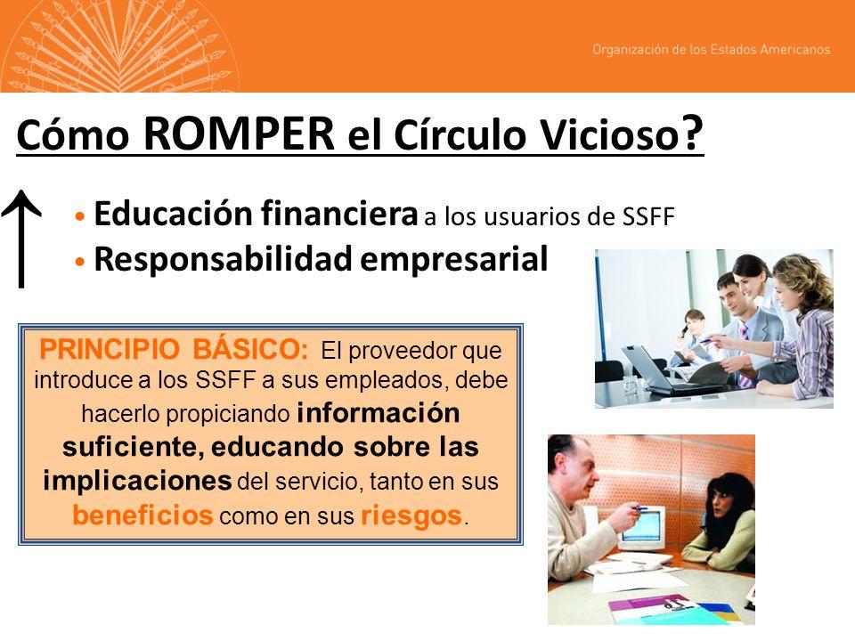 Cómo ROMPER el Círculo Vicioso ? Educación financiera a los usuarios de SSFF Responsabilidad empresarial PRINCIPIO BÁSICO: El proveedor que introduce
