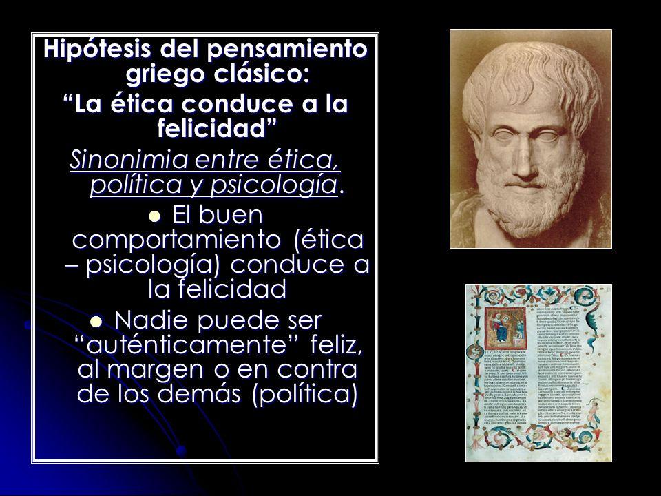 Hipótesis del pensamiento griego clásico: La ética conduce a la felicidad Sinonimia entre ética, política y psicología. El buen comportamiento (ética