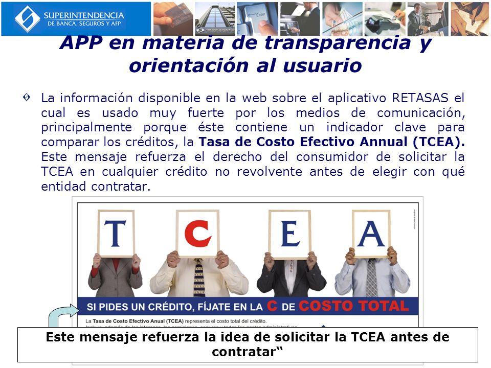 APP en materia de transparencia y orientación al usuario La información disponible en la web sobre el aplicativo RETASAS el cual es usado muy fuerte p