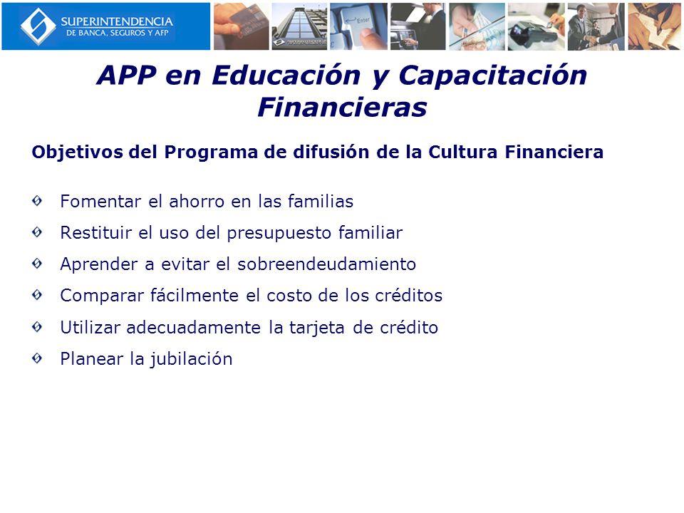 Objetivos del Programa de difusión de la Cultura Financiera Fomentar el ahorro en las familias Restituir el uso del presupuesto familiar Aprender a ev