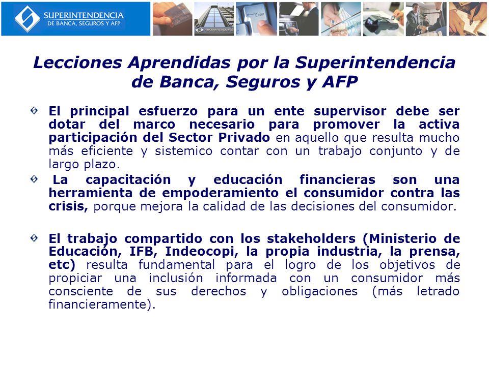 Lecciones Aprendidas por la Superintendencia de Banca, Seguros y AFP El principal esfuerzo para un ente supervisor debe ser dotar del marco necesario